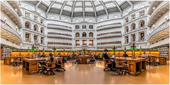 The seat of knowledge (Chas56) Tags: australia architecture building buildings melbourne library libraries dome canon canon5dmkiii panorama wideangle statelibrary study students knowlegde