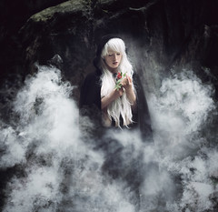 The sprig of life (Andrea Peipe) Tags: woman saxony saxonyfg15 smoke whitehair longhair cloak nikon d810