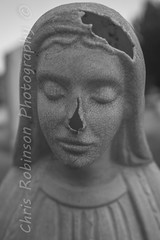 T h r o u g h T h e  C r a c k s (Chris Robinson Photography) Tags: statue face blackandwhitephotography cracks portraits damaged sigma35mmf14 death graveyard outdoors