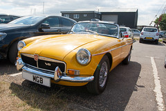 Beautiful old MG (jimj0will) Tags: mg classiccar car motor yellow chrome auto oldcar mgb roadster softtop ragtop convertible convertable