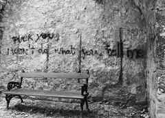 Graffity (Funyiroember) Tags: blackandwhite against monochrome bench lyrics outdoor quote machine rage graffity ratm nikond3300