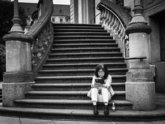 Reading between the lines (Ludo_Jacobs) Tags: book reading read lesen buch street streetphotography candid people berlin gendarmenmarkt stairs lines monochrome blackandwhite