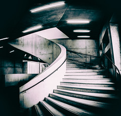 Tate Modern - Switch House by Simon & His Camera (On Explore 9th Aug 2016) (Simon & His Camera) Tags: building bw blackandwhite simonandhiscamera stairs indoor curve architecture iconic london lines monochrome urban city explore