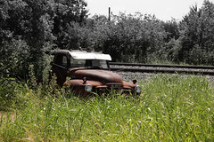 Photography Challenge 202 of 365 (McKenzie's Photography) Tags: vintage old classic gmc stalled broken grass weed railroad track transportation truck train tree nature environment rubbish trash past present outdoor outside nevada texas tx