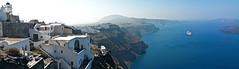 Imerovigli - picturesque village on the Aegean Sea (somabiswas) Tags: imerovigli greece santorini village aegean sea seascapes landscape cruiseships panorama
