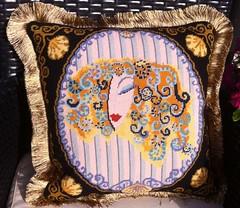 Zandra Rhodes Byzantine Head Pillow (victowood) Tags: zandrarhodes handmade needlepoint pillow portrait