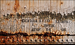 Substrative Corrosity (Junkstock) Tags: california old railroad white texture closeup typography photography photo graphics junk rust paint rivets graphic photos decay rusty trains textures photographs photograph rusted type weathered aged peelingpaint artifact distressed corrosion artifacts decayed corroded relic rustyandcrusty oldstuff craquelure perris oldandbeautiful