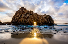 Nikon D810 HDR Photos Keyhole Rock (Sunset Through the The Keyhole) on Pfeiffer Beach Big Sur, Dr. Elliot McGucken Fine Art Photography!  14-24mm Nikkor Wide Angle F/2.8 Lens! (45SURF Hero's Odyssey Mythology Landscapes & Godde) Tags: sunset seascape beach beauty clouds landscape pretty gorgeous scenic bigsur keyhole hdr highdynamicrange starburst lightroom windowrock keyholerock bigsurkeyhole