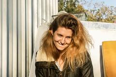 Nomie (adrien.ledeul) Tags: portrait woman usa sun smile leather barn america vintage hair backyard texas united houston retro blond states