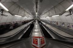 Stop! (Rob Grainger) Tags: red motion blur robert train underground photography escalator tube platform rob stop grainger