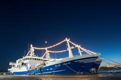 Peterhead Christmas - Moon Rising over the Lunar Bow (paulcameron09) Tags: longexposure nikon christmaslights nikkor trawler pelagic peterhead 2470mm d810 lunarbow