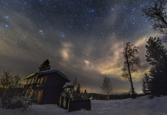 Resting Under The Stars (MilaMai) Tags: snow winter easternfinland finland joensuu kiihtelysvaara night nightview nightsky clouds pink trees forest stars underthestars starsky light cabin redcabin sky resting tractor rig starrysky oldtractors starrynight countrystars milkyway cosmos astro shine unique milamai originalimage colorful dramatic moonlight vehicle silhuette farmvehicle longexposure magical tractorunderstars north karelia nordic scandinavia europe landscape snowscape suomi maisema countryside pinkcloud universe lighting