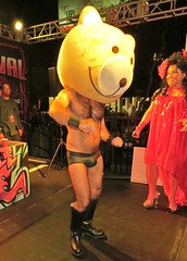 Halloween 14 144 (danimaniacs) Tags: bear shirtless man hot sexy guy hair dance costume mask underwear body head hunk dancer swimsuit hunky lycra bulge kaysedia chicosangels halloween14