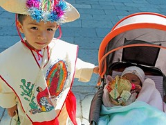 """Juan Diego & brother"" - Oaxaca, Mexico (TravelsWithDan) Tags: festival children mexico costume parade celebration oaxaca virginofguadalupe youngboy juandiego"