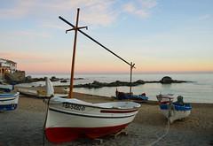 Boats at sunset (angelsgermain) Tags: houses winter light sunset sea sky beach boats evening coast sand rocks mediterranean village catalonia catalunya ropes calelladepalafrugell baixempordà portbo