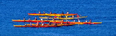 Outrigger canoes: The race is on (peggyhr) Tags: ocean blue red yellow hawaii outriggercanoes peggyhr dsc06970a