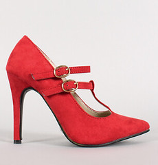 "double t strap pointy toe pump red • <a style=""font-size:0.8em;"" href=""http://www.flickr.com/photos/64360322@N06/16165685617/"" target=""_blank"">View on Flickr</a>"