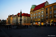 Wroclaw (mswan777) Tags: world street city travel sunset sculpture fountain buildings square nikon cityscape poland polarizer wroclaw d5100