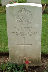 T. Blair, Royal Irish Rifles, 1916, War Grave, Connaught Cemetery (PaulHP) Tags: cwgc somme ww1 war graves headstone france t blair rifleman rir royal irish rifles 14th bn battalion service number 1239 1st july 1916 connaught cemetery thiepval military world one grave