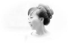 portrait .... (gks18) Tags: portrait blackandwhite bw woman white black soft profile naturallight highkey ladyinwaiting