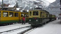 Grund Station (deltrems) Tags: snow electric train switzerland swiss railway berner wab bernese oberland grund wengneralpbahn wengeralpbahn