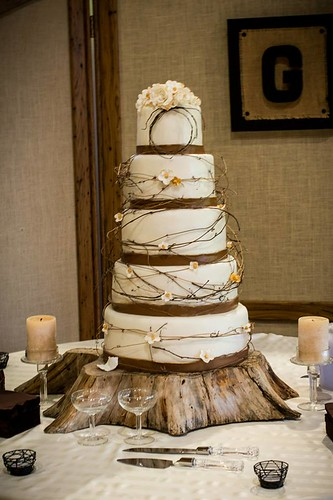 """A country chic wedding cake with browns and gold. • <a style=""""font-size:0.8em;"""" href=""""http://www.flickr.com/photos/50891271@N03/16322013216/"""" target=""""_blank"""">View on Flickr</a>"""