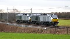 68010 & 68013 - Red Bank (Brandon-Jones) Tags: train br diesel railway locomotive redbank convoy britishrail diesellocomotive westcoastmainline wcml dieseltrain ukrailway 68010 68013 class68 19february2015