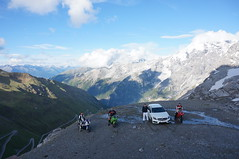 Hanging out after climbing the paso del stelvio (a-thomas) Tags: italy mountains alps del mercedes switzerland italia view ninja strasse performing racing serpentinen tires berge paso bmw alpen aussicht grip ducati a45 pacing aklasse tyres kawasaki amg stilfser joch racen stelvio heizen worldcars aclasse s1000rr hillcliming paningale