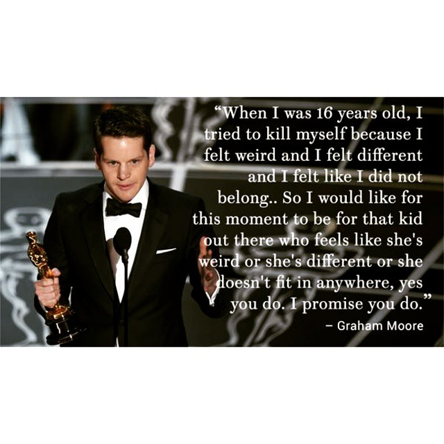 Amazing speech 😢😢😢😢  Graham Moores Acceptance Speech for Best Adapted Screenplay 👏👏👏  #GrahamMoore #TheImitationGame #Oscars87th