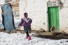 (delikizinyeri) Tags: door dog house snow girl turkey village child kars baky baskoy