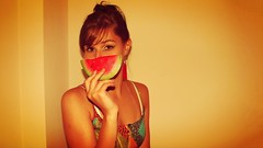 tropical madness (Poison Ivi) Tags: summer brazil hot girl brasil watermelon melancia tropical brazilian verão menina quente calor