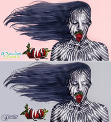 Decadence (Katelin Kinney) Tags: blue black texture animal hair dessert weird cool strawberry pretty pattern skin sweet chocolate funky advertisement commercial covered zebra product classy