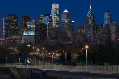 Philly at Night (mhoffman1) Tags: city urban philadelphia skyline night evening ramp skyscrapers unitedstates dusk pennsylvania clear freighttrains bluehour cloudless murano libertyplace comcastcenter phiily commercesquare sonyalpha a7r gfreddibonajrbuilding bnymelloncenter schuylkillboardwalk