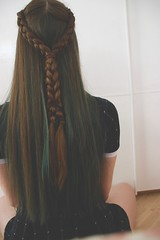 And from the back... (lydiakoerner) Tags: selfportrait greenhair alpinegreen green hair braids dutchbraid brownhair colorfulhair girl pale larichedirections
