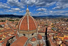 Over the Dome (Firenze) (manuelecant) Tags: dome firenze florence santa maria del fiore cathedral basilica italy tuscany panorama top campanile bell tower sky clouds hdr nikon d5500