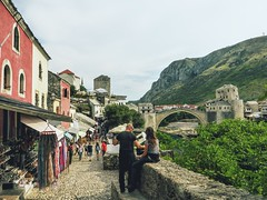 Look over Stari Most (carrots99) Tags: travel bridge people mostar bosnia bazaar bazar