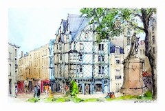 Angers - France (guymoll) Tags: angers france croquis sketch aquarelle watercolour watercolor maison timberedhouse timber colombages