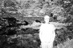 Qui, que, quoi/Uncertain self/Osäker [Explore] (Elf-8) Tags: self portrait ir infrared blackandwhite bw landscape arch bridge