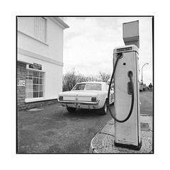 fill her up!  bel air, burgundy  2015 (lem's) Tags: station service gas pump pompe mustang ford bel air nationale 6 n6 burgundy bourgogne hasselblad 500cm