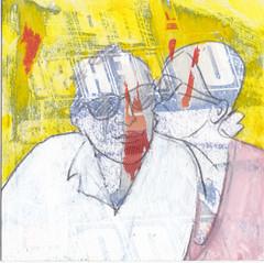 # 224 (11-08-2016) (h e r m a n) Tags: herman illustratie tekening bock oosterhout zwembad 10x10cm 3651tekenevent tegeltje drawing illustration karton carton cardboard afscheid farewell goodbye kus kiss
