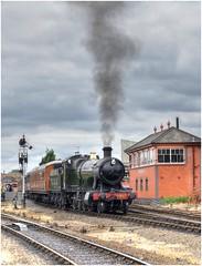 2857. Leaving Kidderminster .. (Alan Burkwood) Tags: svr kidderminster gwr churchward 28xxclass 2857 steam locomotive semaphore signal box