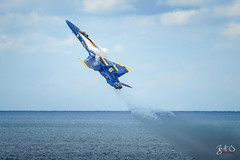 And.. We Have Lift Off! (Brad Hartig) Tags: blueangels diamond formation sky cleveland ohioclevelandnationalairshow fa18 f18 hornet navy us unitedstates america usa clouds jets fighter blue yellow mcdonnelldouglas aviation flight power teamwork marines smoke crazy art awesome insanity vapor lakeerie