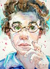 """ponder"" - watercolour (Nora MacPhail) Tags: sktchy sktchyapp sktchyinspired portrait portraits face faces watercolour watercolor pencil noramacphail hair glasses canadian artist toronto ontario"