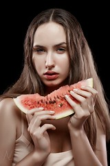 Darya (n_lev44) Tags: ifttt 500px young adult attractive beautiful beauty black background brunette eating fashion girl gorgeous holding model piece portrait red sexy studio watermellon woman