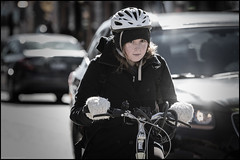 Bank Street October 23 2016 (Dan Dewan) Tags: glebe centretown dandewan bicycle canon7dmarkii canonef70200mm14lisusm street canon colour ottawa woman cyclist girl portrait sunday october  eyes photographist ontario lady bankstreet face bike 2016