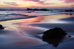 Reflections (Virginia Bailey Photography) Tags: beach rocks sunset reflection tide color rosarito mexico bajacalifornia pacificocean coast virginiabaileyphotography
