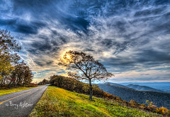 Autumn Sun Blue Ridge Parkway (Terry Aldhizer) Tags: autumn sun blue ridge parkway virgina sky clouds sundog dog optic tree trees road terry aldhizer wwwterryaldhizercom