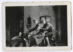 . (Kaopai) Tags: bike motorrad rad woman frau armbinde hakenkreuz swastika mantel