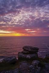 Sunset in Sennen, Cornwall (harry.blytheallen) Tags: evening clouds view portrait landscape peaceful holidays gb summer water ocean sea sunset coast rocks england uk cornwall