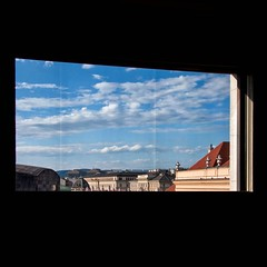 dalla finestra  #window #vienna #wien (.taz.) Tags: instagramapp square squareformat iphoneography uploaded:by=instagram vienna wien austria window landscape roofs blue sky clouds